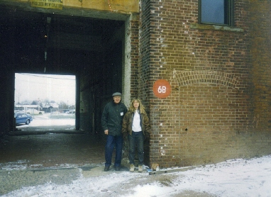 "<strong>Entrance to Bldgs. 6 & 7 Track ""B"".</strong> Bill Smith, Winchester's finest Model 21 gunsmith and Pauline Muerrle"