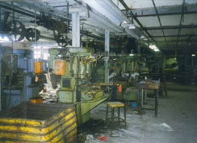 Interior of Custom Shop  showing belt-driven machinery